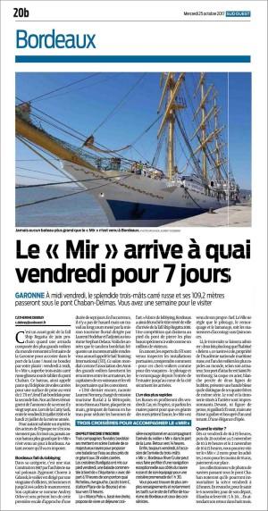 Sud-Ouest du 25 Octobre 2017 : le Mir arrive à quai vendredi pour 7 jours