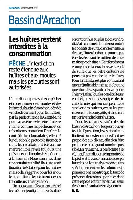 Article de Bernadette Dubourg, Sud-Ouest du 25 Mai 2018 : les huîtres restent interdites à la consommation