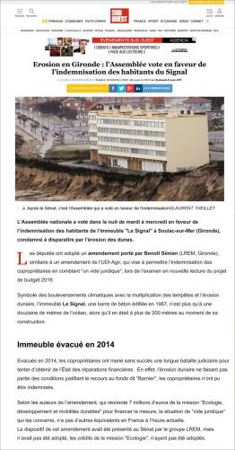 Sud-Ouest 19 Dec 2018_Erosion en Gironde_ l_Assemblée vote en faveur de l_indemnisation des habitants du Signal