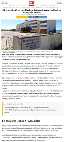 Sud Ouest 3 Dec 2018 - le Sénat vote l_indemnisation des copropriétaires du Signal à Soulac