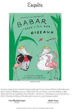 babar île aux oiseaux (1951) - enquête Académie du Bassin (2018)