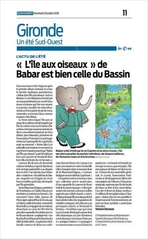 L'île aux oiseaux de Babar est bien celle du Bassin- SO 19 Juillet 2018