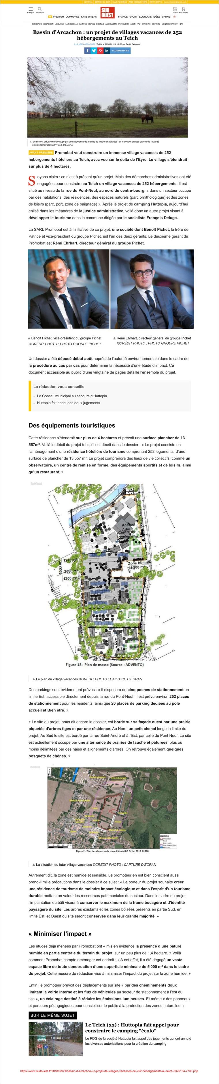 Sud-Ouest fr 21 Août 2018 - Bassin d_Arcachon_ un projet de villages vacances de 252 hébergements au Teich