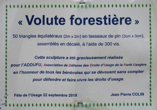 Volute forestière par Jean-Pierre Colin pour ADDUFU