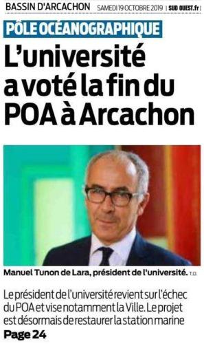 L'université a voté la fin du POA à Arcachon