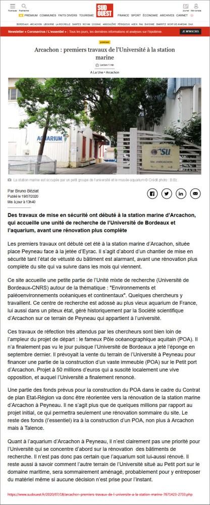 Sud-Ouest du 19 Juillet 2020 - Arcachon, premiers travaux de l'Université à la station marine