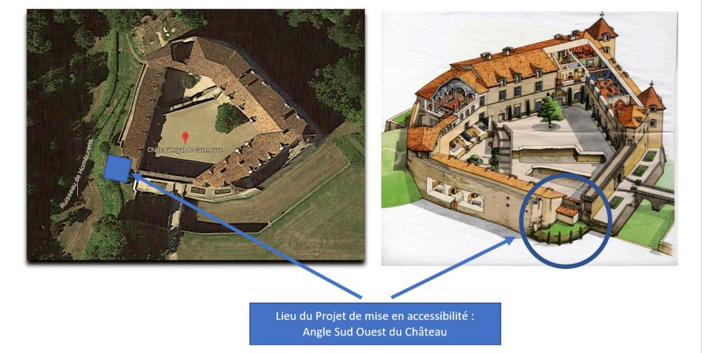 Lieu projet mise en accessibilité château de Cazeneuve - Mécénat MH