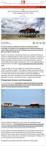 Sud-Ouest 13 Août 2020 - Bassin d'Arcachon - interdiction de s'approcher de la cabane tchanquée aux volets rouges